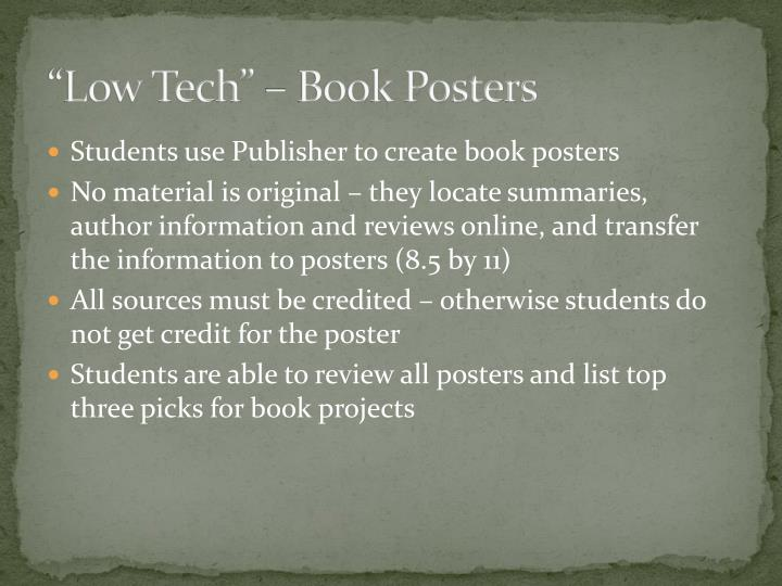 """""""Low Tech"""" – Book Posters"""