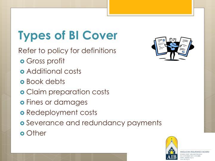 Types of BI Cover