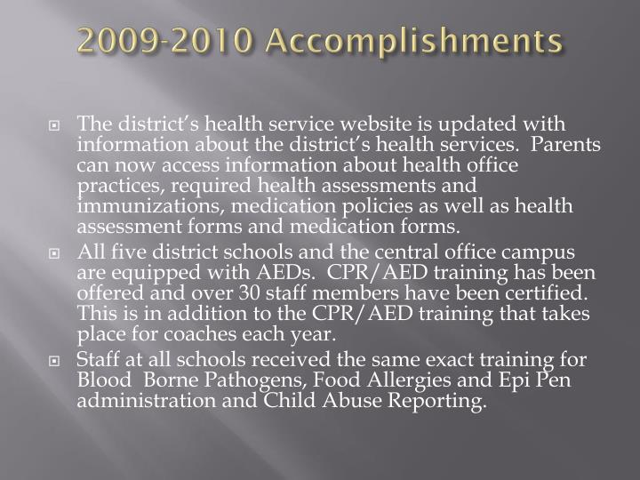 2009 2010 accomplishments