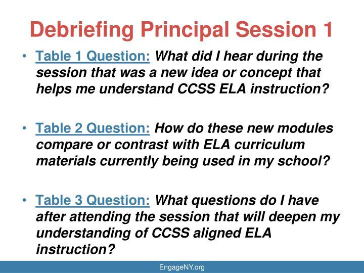 Debriefing Principal Session 1