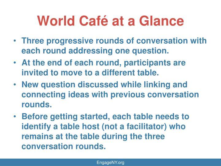 World Café at a Glance