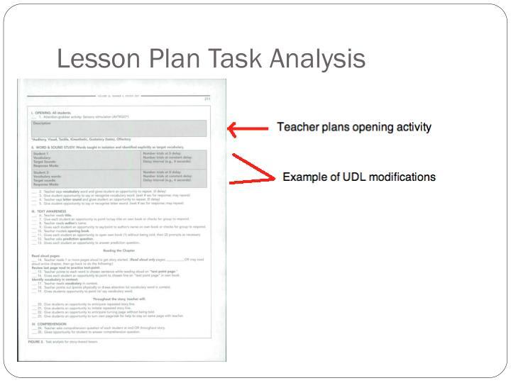 Lesson Plan Task Analysis