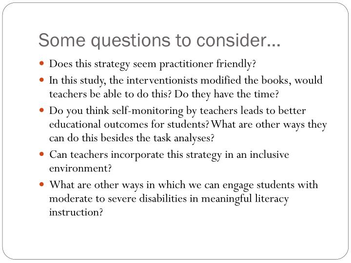 Some questions to consider…