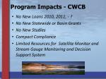 program impacts cwcb