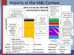 reports in the m i context