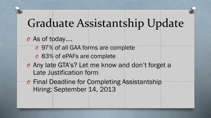 Graduate Assistantship Update