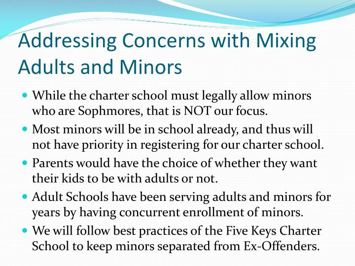 Addressing Concerns with Mixing Adults and Minors