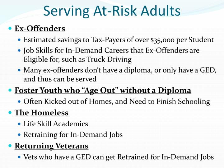 Serving At-Risk Adults