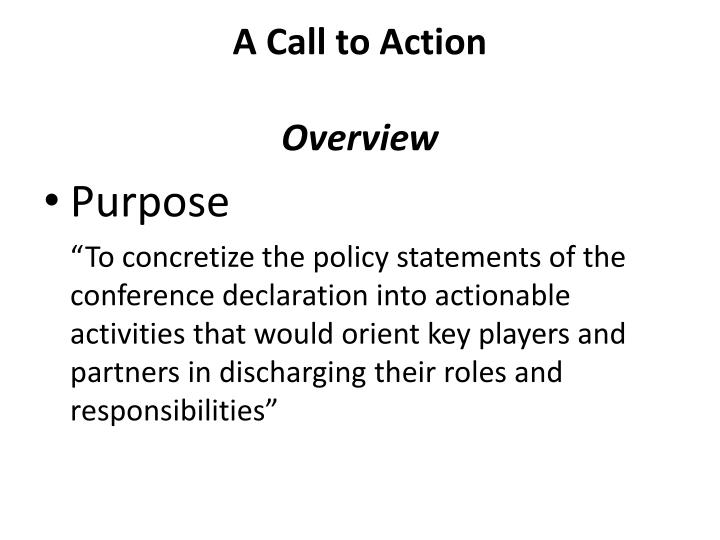 A call to action o verview