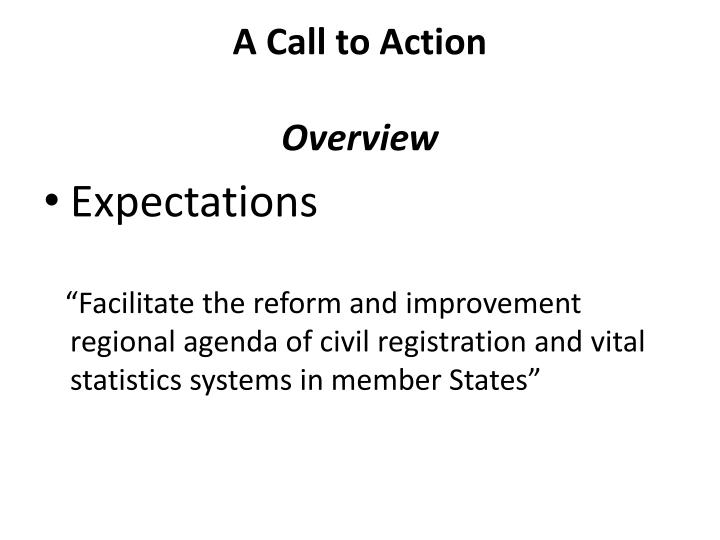 A call to action o verview1