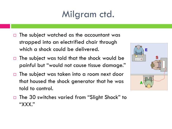 Milgram ctd.
