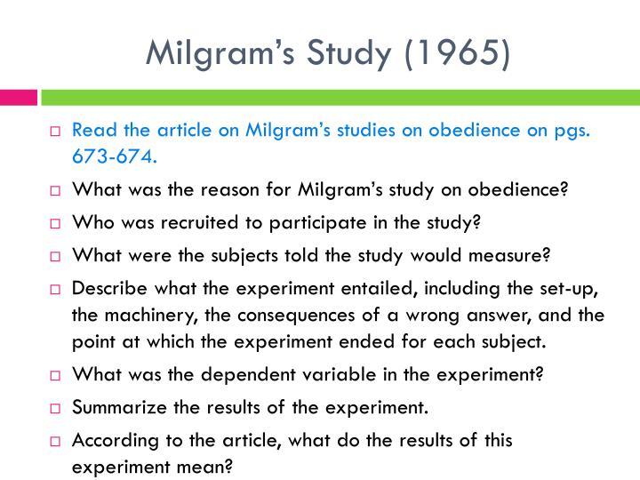 Milgram's Study (1965)