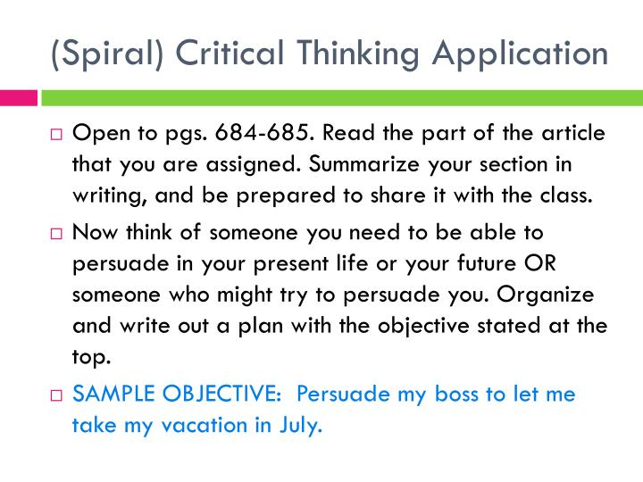 (Spiral) Critical Thinking Application