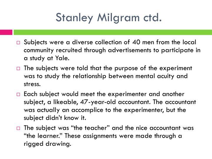 Stanley Milgram ctd.