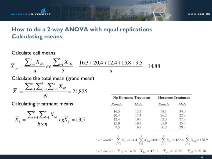 How to do a 2-way ANOVA with equal replications