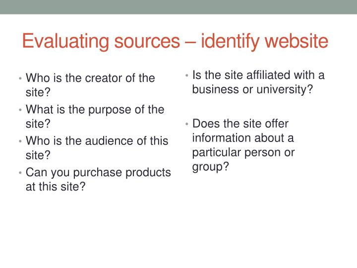 Evaluating sources – identify website