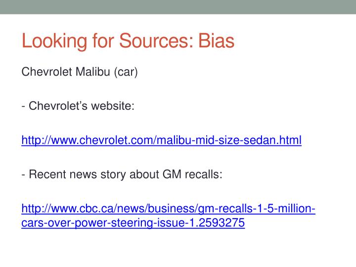 Looking for Sources: Bias