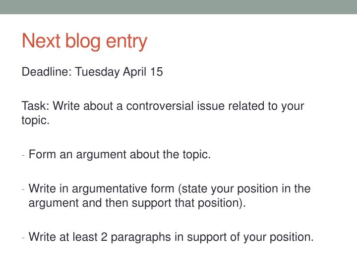 Next blog entry