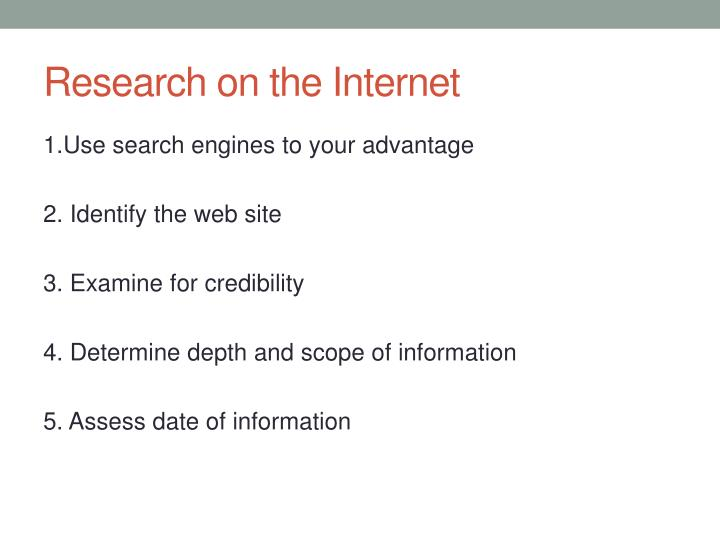 Research on the Internet
