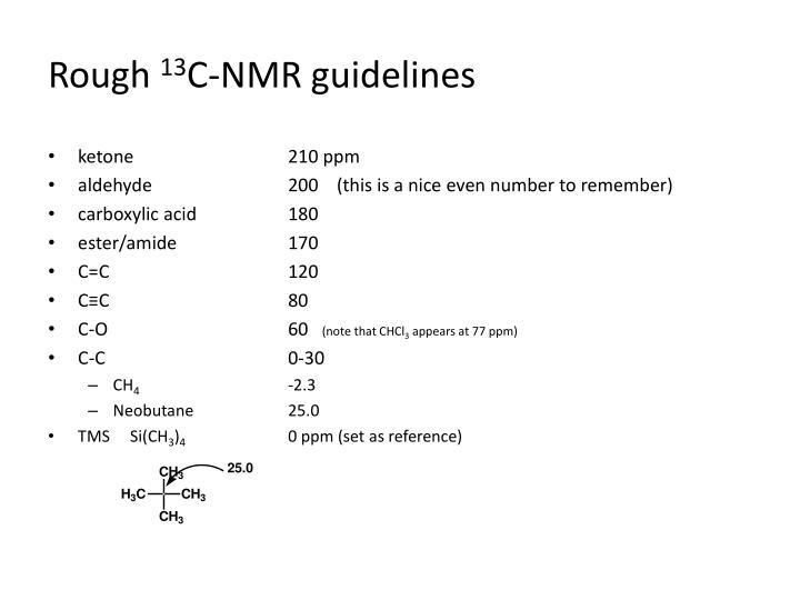 Rough 13 c nmr guidelines