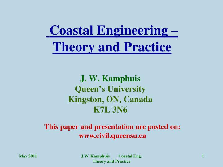 Coastal engineering theory and practice
