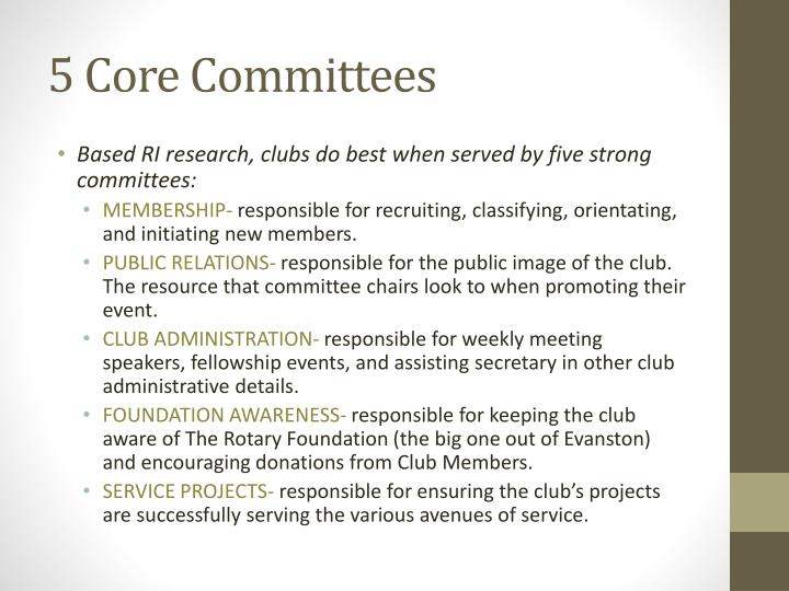 5 core committees