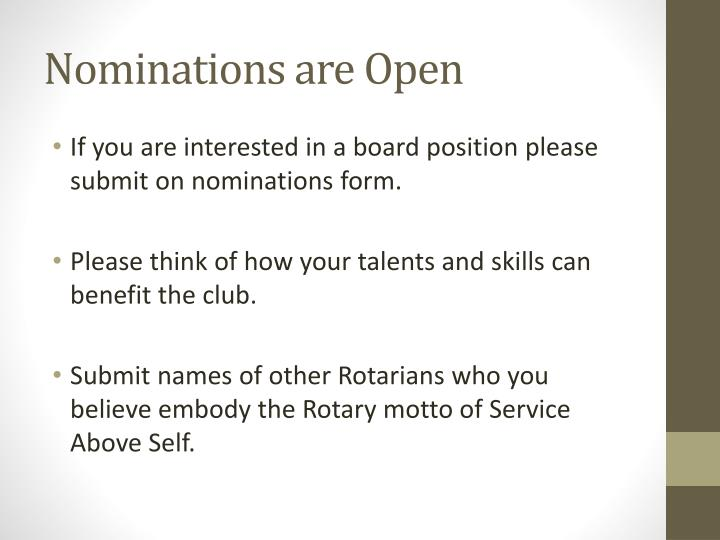 Nominations are Open