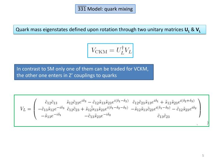 331 Model: quark mixing