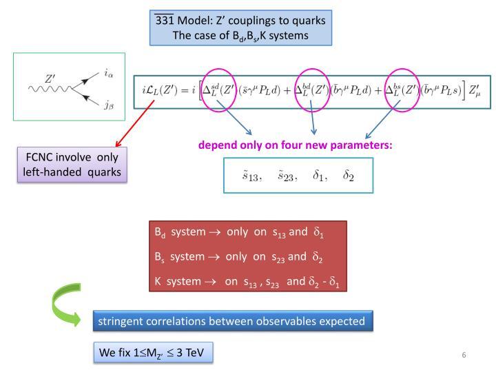 331 Model: Z' couplings to quarks