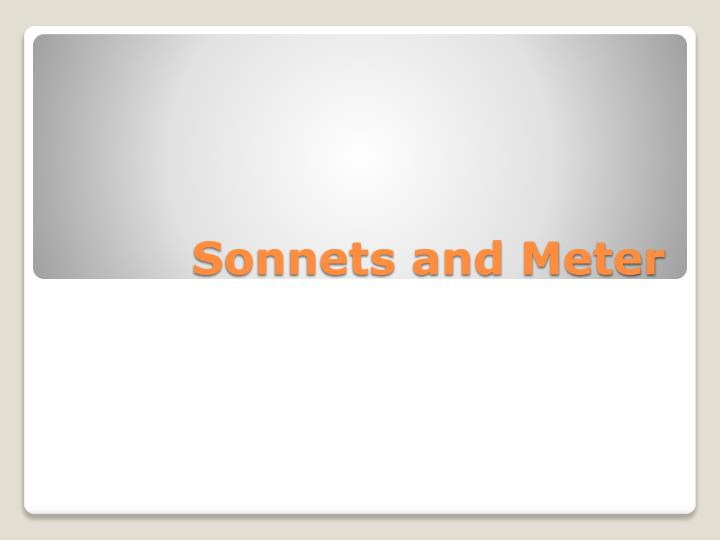 sonnets and meter n.