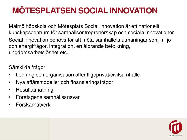 Mötesplatsen social innovation