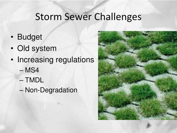 Storm Sewer Challenges