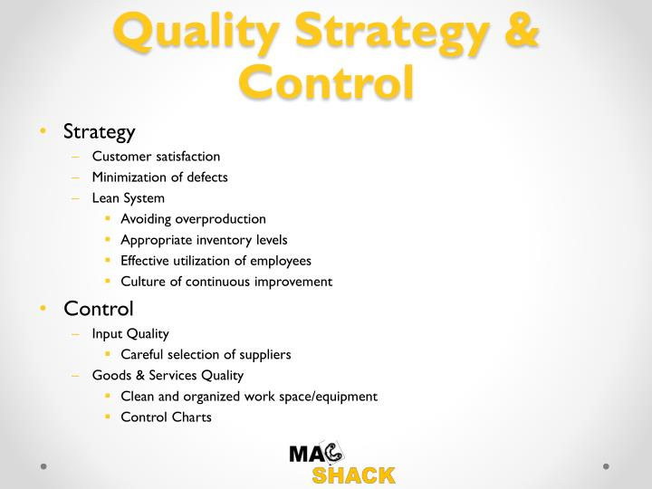 Quality Strategy & Control