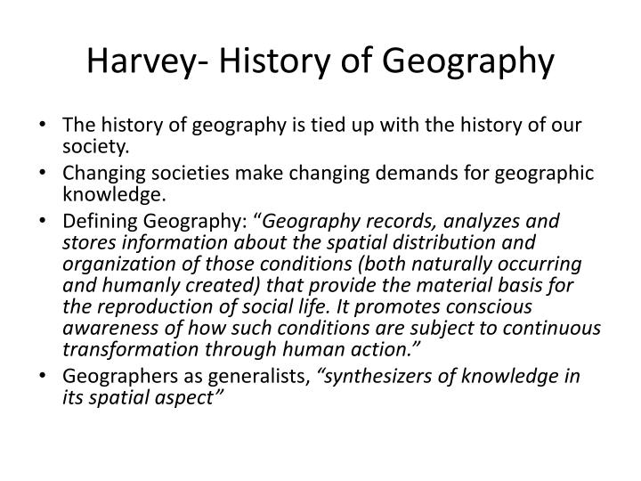 Harvey history of geography