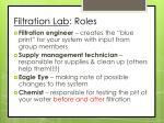 filtration lab roles