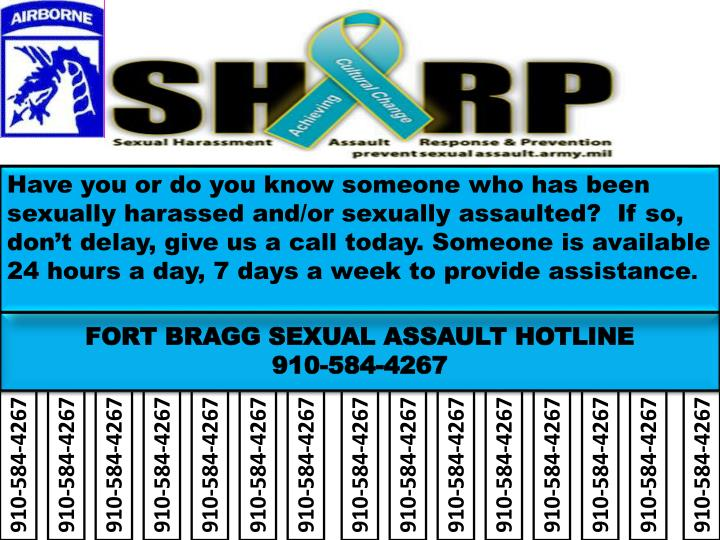 Have you or do you know someone who has been sexually harassed and/or sexually assaulted?  If so, don't delay, give us a call today. Someone is available 24 hours a day, 7 days a week to provide assistance