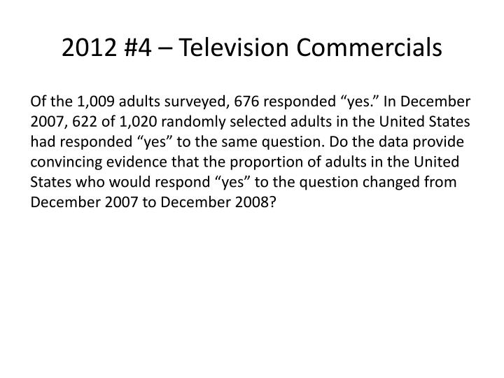 2012 #4 – Television Commercials