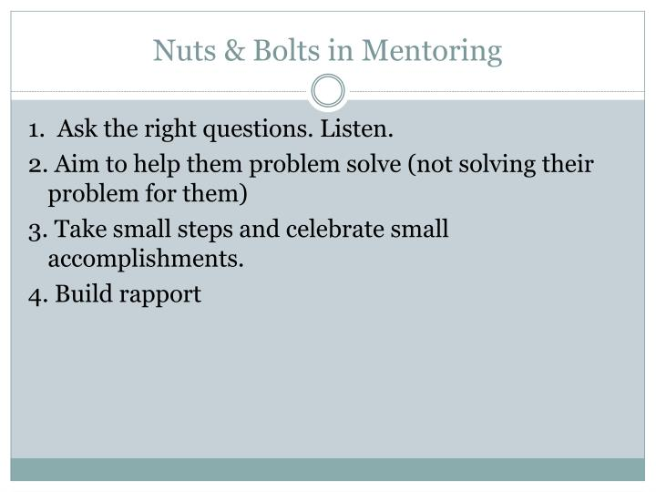 Nuts & Bolts in Mentoring