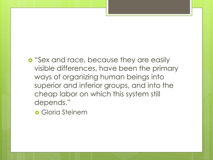 """""""Sex and race, because they are easily visible differences, have been the primary ways of organizing human beings into superior and inferior groups, and into the cheap labor on which this system still depends."""""""