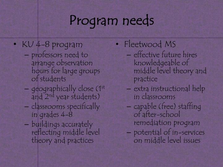 Program needs
