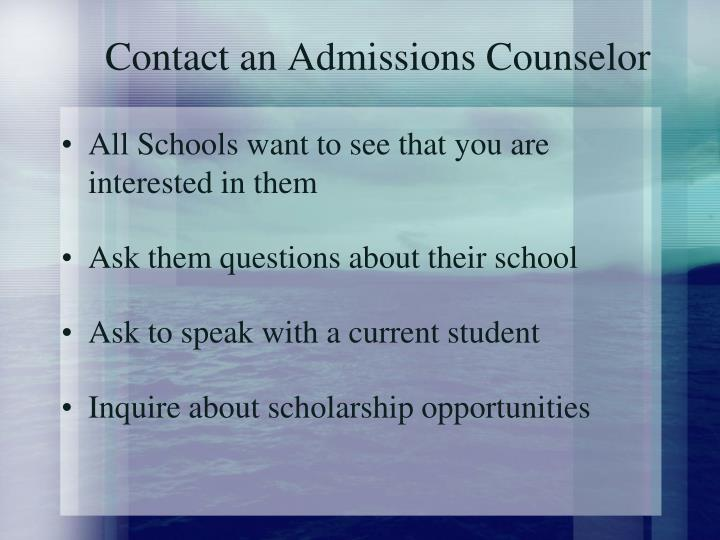 Contact an Admissions Counselor