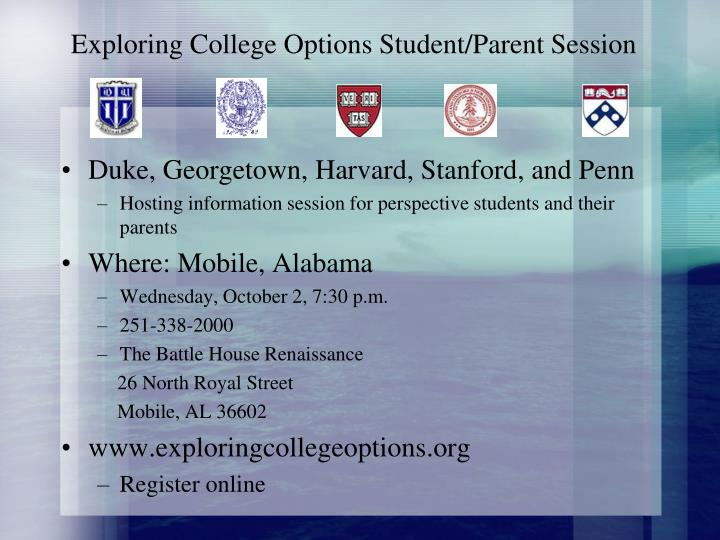 Exploring College Options Student/Parent Session