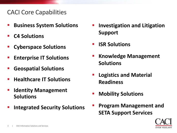 Caci core capabilities