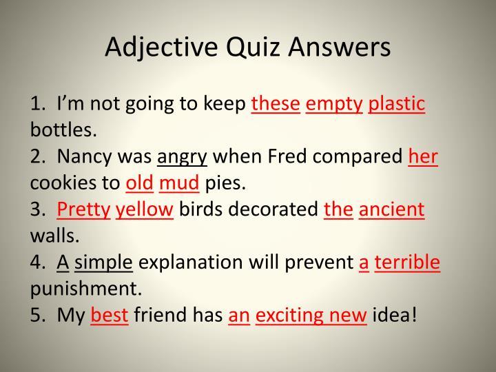 Adjective Quiz Answers