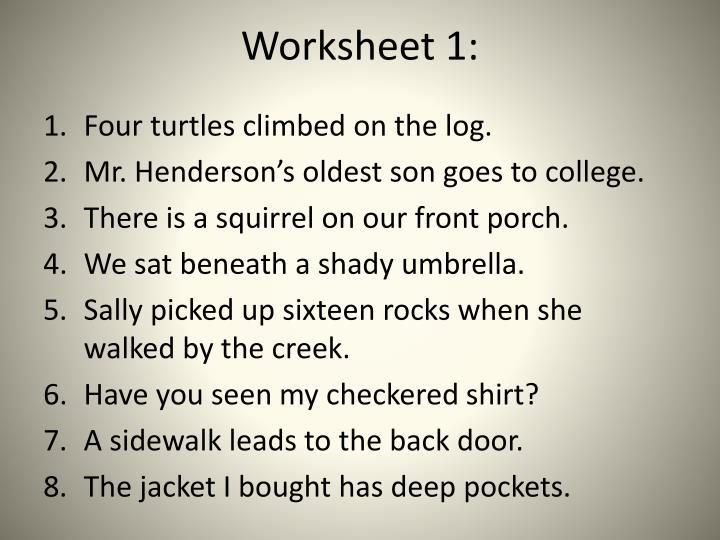 Worksheet 1:
