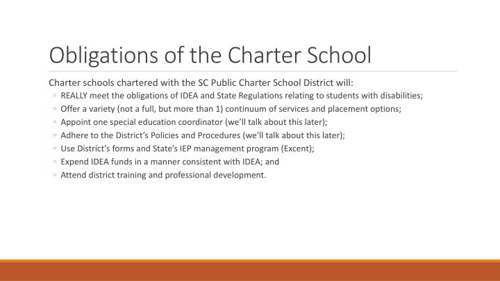 Obligations of the Charter School