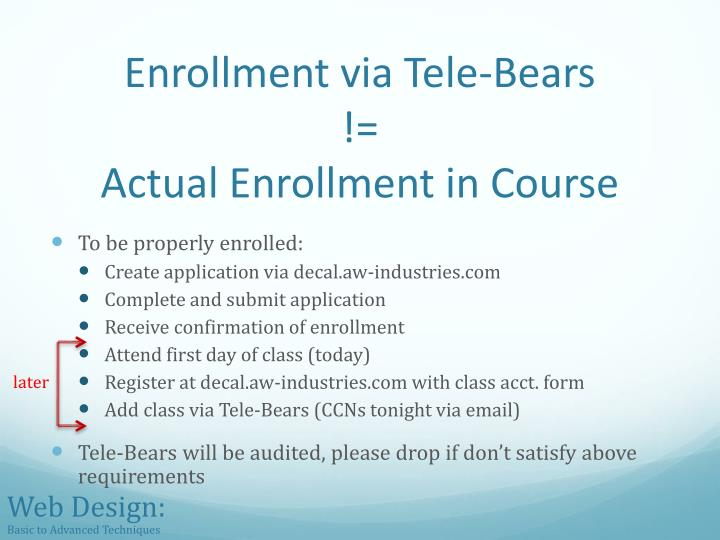 Enrollment via tele bears actual enrollment in course