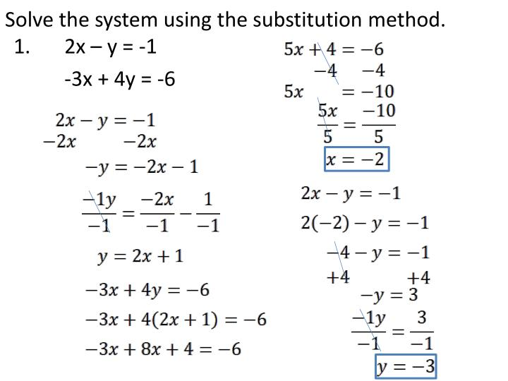 Solve the system using the substitution method