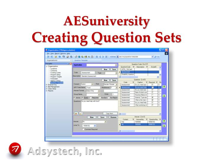 Aesuniversity creating question sets
