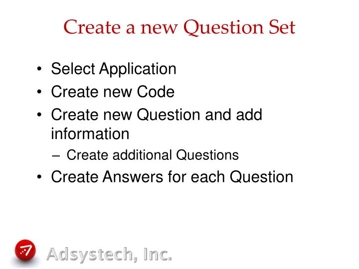 Create a new Question Set